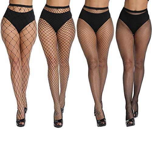 DRESHOW 4 Stück Fishnet Strümpfe Strumpfhosen Nutzstrumpfhose für Damen Netzstrümpfe - 5 Stück Sexy Damen Kostüm