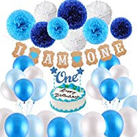 """VEYLIN 1st Birthday Decorations for Baby Boys in Blue Kit - I AM ONE Bunting Banner, Cake Bunting Topper """"One"""", 9 Tissue Paper Flowers, 15 Balloons with Ribbon for Boy Birthday Supplies (Blue)"""