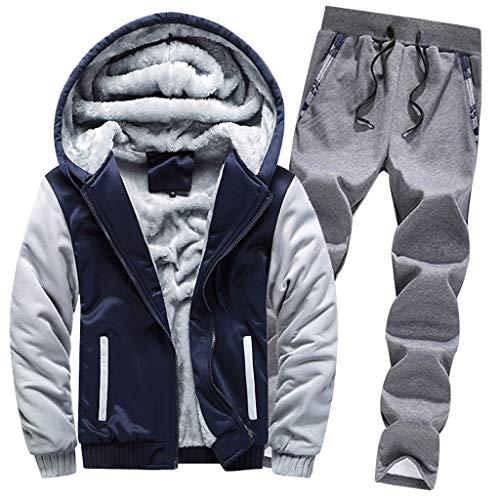 Amphia - Herren Mantel + Hosenanzug aus Baumwolle - Herren Hoodie Winter Warm Fleece Zipper Sweater...