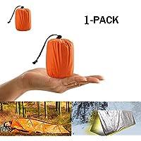 ALOUCH Saco de Emergencia Dormir, Aislamiento Térmico, Exterior Brillante Naranja Fácil de Localizar Portátil,Adecuado Saco de Dormir para Acampar al Aire Libre y Senderismo (1 Paquete)