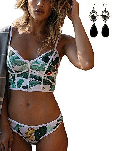 Sitengle Damen Badeanzüge Bikinis Multicolour Push up Paisley Bademode Sport Bathing Suit Ethnischen Tauchanzug Unterwäsche Hot Bikini Grün XL (Bras Womens Paisley)