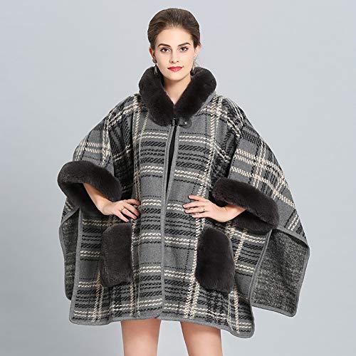 SILWJPF Mode Damenmode Plaid Temperament Wild Big Schal Warm Dick Komfortabel Weich Lose Pelzkragen Poncho Grau