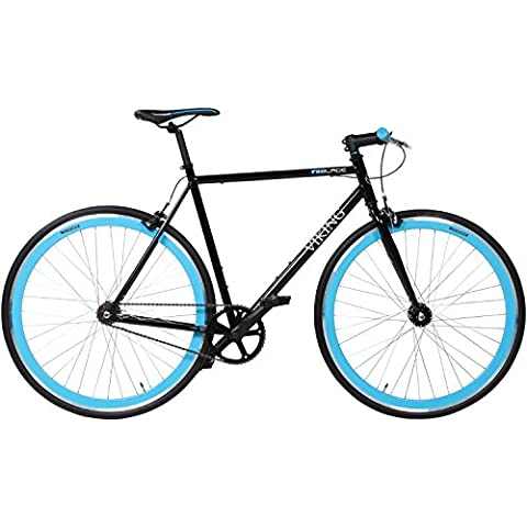 Viking Single Speed bicicletta Blade, 1 Gang, ampiezza ruote: 28 pollici (71,1 cm), nero/blu, 59 cm