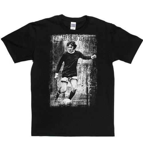 George Best Action Football Footy Soccer T-shirt Schwarz