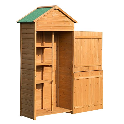 51S50AzuwSL. SS500  - Outsunny 4-tier Wooden Garden Shed Outdoor 90 x 50cm 3 Shelves Utility Gardener Cabinet Lockable Double Doors Tool Kit Storage