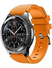 MalloomNueva moda deportes pulsera correa banda de silicona para Samsung Gear S3 Frontier (Naranja claro)
