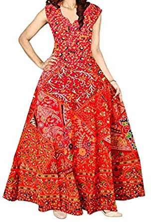 Kanika Fashion Women's Jaipuri Floral Printed Cotton Maxi Long Dresses (Multicolour, Free Size)