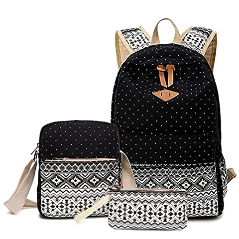 LABABE Canvas Backpack School Bags Set for Teens Girls, Casual