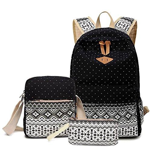 LABABE Canvas Backpack School Bags Set for Teens Girls, Casual Daypack + Shoulder Bag + Pencil Case - black