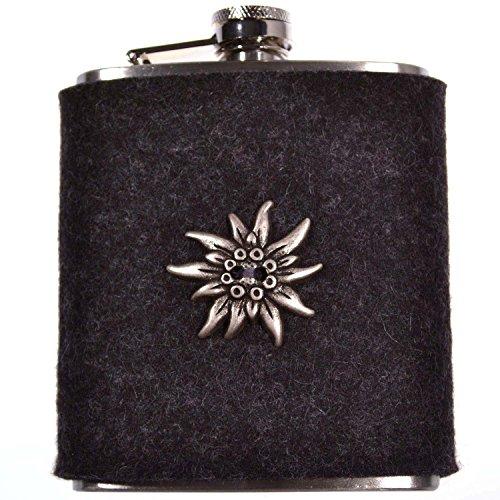 Flachmann EDELWEISS Grau - Taschenflasche mit Filzhülle