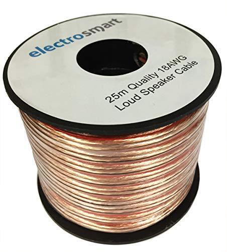 Speaker Cable CCA Copper-Coated Aluminium 2x48x0.20mm Filaments Polarity Marking deleyCON 10m Loudspeaker Cable 2x 1.5mm/² Transparent