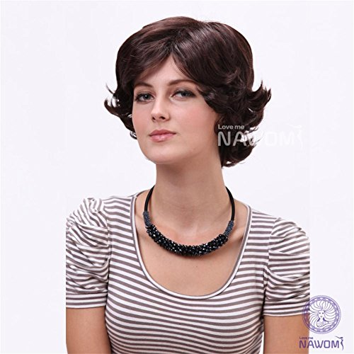 LI JIE Synthetische Perücken Damen Curly Short Fiber Perücke mit dunkelbraunem Haar (Sinon Cosplay Kostüm)