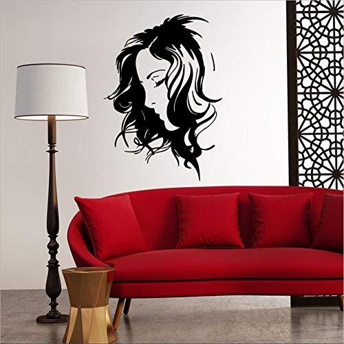 Mddjj parrucchiere decalcomanie da muro adesivi per la casa di bellezza adesivo da parete in vinile smontabile da donna ciglia lunghe decorazione murale
