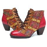 Socofy Bottes Femme, Bottines en Cuir Boots Talon Moyen Carrés Chaussures de Ville Hiver, Design Original à Style Ethnique - Rouge