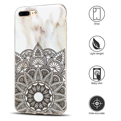 Coque iPhone 7 Plus , Etui iPhone 8 Plus , Anfire Motif de Marbre Souple TPU Case Silicone Slim Étui de Protection Flexible Soft Cover Anti Choc Ultra Mince Integrale Couverture Bumper Caoutchouc Gel  Mandala