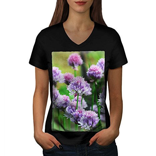 Klee Blume Wild Natur Natur Damen M V-Ausschnitt T-shirt | Wellcoda (Licht-t-shirt Klee)
