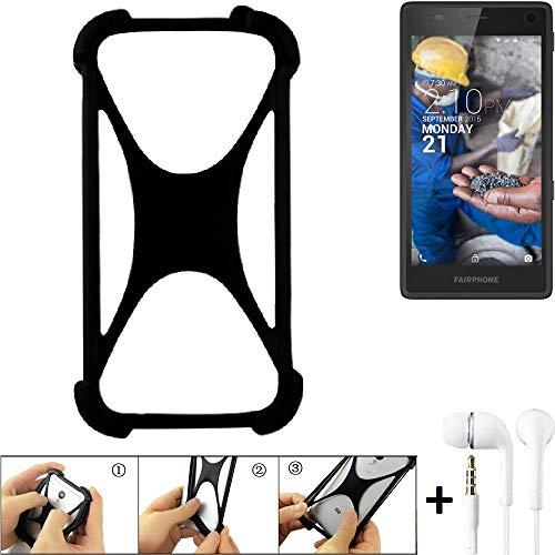 K-S-Trade Handyhülle für Fairphone Fairphone 2 Schutzhülle Bumper Silikon Schutz Hülle Cover Case Silikoncase Silikonbumper TPU Softcase Smartphone, schwarz (1x), Headphones