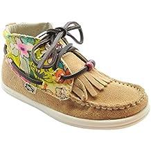 Dolfie Landom - Zapatilla deportiva de terciopelo con flecos para niña, color camel.