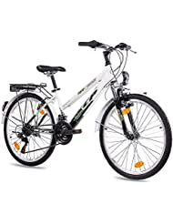 "24"" Zoll CITYBIKE MÄDCHENFAHRRAD JUGENDRAD KCP TERRION LADY mit 18 Gang SHIMANO schwarz weiss"