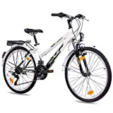 24' Zoll CITYBIKE MÄDCHENFAHRRAD JUGENDRAD KCP TERRION LADY mit 18 Gang SHIMANO schwarz weiss