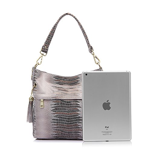 Realer cuir véritable sacs de crocodile pour les femmes épaule sac messenger Beige