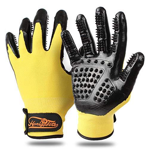 Honigpfote Fellpflegehandschuh Paar zur Tierhaar Entfernung - Fellwechsel Bürstenersatz Handschuhe für Hunde, Katzen und Pferde