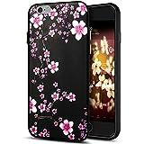 iPhone 6S caso, iPhone 6caso, ikasus 3d relief relieve colorido arte pintado patrón de flores de girasol de cerezo negro Flexible suave silicona TPU parachoques de goma protectora funda para iPhone 6S/64.7