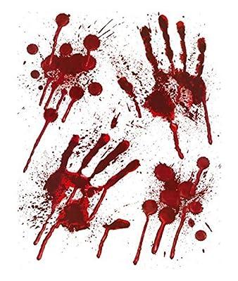 Henbrandt Halloween Bloody Window Stickers - Bloody designs PRINTS with Blood Splatter