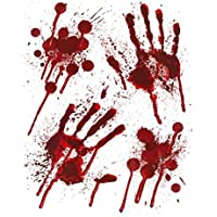 Halloween Bloody Hands Window Stickers - Bloody designs HAND PRINTS with Blood Splatter