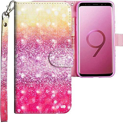 CLM-Tech Galaxy S9 Plus Hülle, Tasche aus Kunstleder, bunt Mehrfarbig gelb lila, PU Leder-Tasche für Galaxy S9 Plus Lederhülle