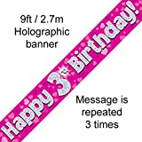 3rd Birthday Pink Holographic Banner by Signature Balloons