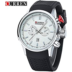 CURREN Business Men's Calendar Waterproof Genuine Rubber Strap Wrist Watch 8175G