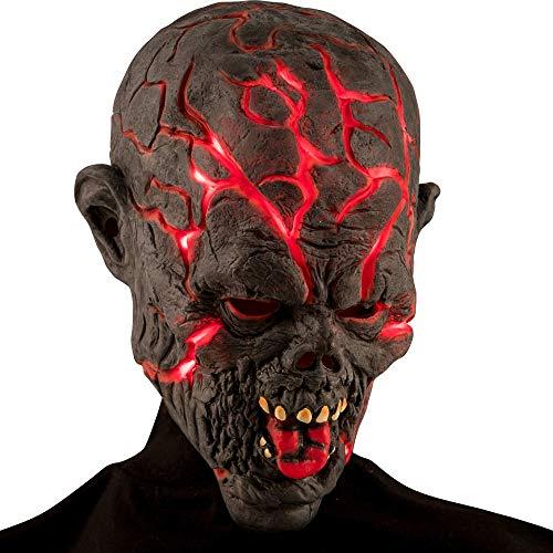 Maschera mostro in lattice con crepe luminose pile incluse adulto bambino halloween horror carnevale