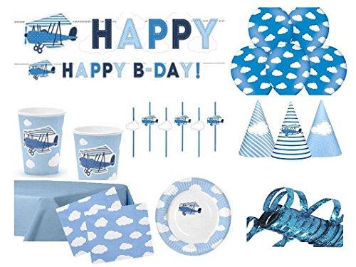 .Geburtstag Kindergeburtstag Flugzeug blau für 12 Personen (77 teilig) (Blau Flugzeug)
