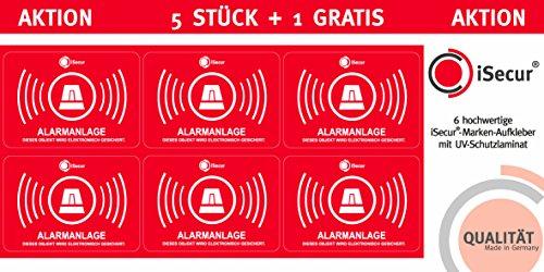 5er Aufkleber-Set Alarmanlage I hin_456 I 6x4 cm I Achtung Objekt Wird elektronisch Alarm-gesichert I für Fenster-Scheibe, Tür I innenklebend