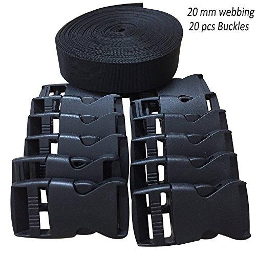 RETON 20MM 10 Yards Schwarz Nylon Gurtband + 20 Stück Verstellbare Schnallen Kunststoff Seitenschnallen -