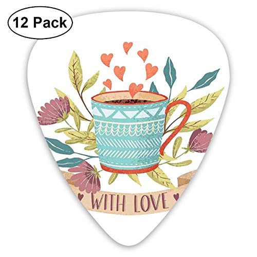 Celluloid Guitar Picks - 12 Pack,Abstract Art Colorful Designs,Hand Drawn Cup Flower Blossom And Heart With Love Quote Romantic Valentines Day,For Bass Electric & Acoustic Guitars.