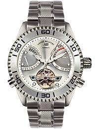 André Belfort 410159 - Reloj analógico de caballero automático con correa de acero inoxidable plateada - sumergible a 50 metros