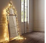 LED-Lichtshop 1 Stück 100er LED-Lichterkette auf silbernem Kupferdraht warm-weiß Innen oder Aussen Batterie-betrieben mit Schalter und 5h Timer(warmweiss)