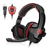 GHB Sades SA-901 7.1CH Surround Sound Stereo Headset PC Gaming Kopfhörer mit USB-Stecker und Mikrofon Rot+Schwarz - 2
