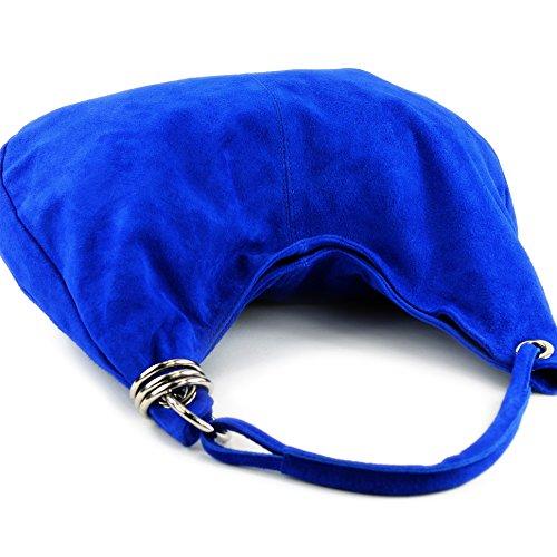 modamoda de - ital. Ledertasche Schultertasche Shopper Damentasche Wildleder Groß T02 Königsblau