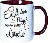 Mister Merchandise Becher Tasse Engel Ohne Flügel Nennt Man Lehrerin Kaffee Kaffeetasse liebevoll Bedruckt Beruf Job Geschenk Weiß-Bordeaux