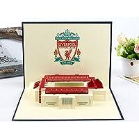 Hecho a mano 3D popup pop up tarjeta origami papercraft paperart Liverpool fútbol soccer Tarjeta de San Valentín, tarjeta del día del padre, tarjeta del día de la madre, pascua, tarjetas de felicitación, tarjeta de cumpleaños, Navidad Tarjeta de Navidad, tarjeta de felicitación, Europa Copa del verano festival, tarjetas generales
