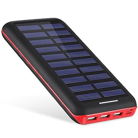 Batterie Externe 22000mAh AKEEM Chargeur solaire,3 Ports USB,Power Bank Batterie de Secours Chargeur Portable avec LED pour iPhone, iPad, Smartphone, Tablette etc