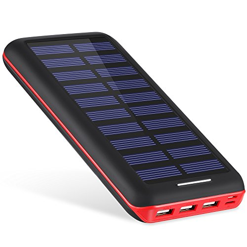 Powerbank AKEEM 22000mAh Solar Ladegerät,Akku mit 3 USB Ausgangen extrem hohe Kapazitat Powerbank für iPhone, iPad, Samsung Galaxy und andere Smartphones (Black-Red(Solar))