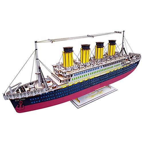 Lhcar 3D Holz handgemachte Puzzle Titanic Boot Schiff Stadt Modell Kinder lernspielzeug DIY Papier Puzzles Puzzle für Kinder (Modell Boot Titanic)