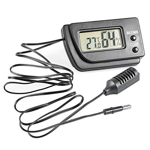 Digitales Thermo-Hygrometer, YouFia Mini- Batteriebetriebenes Temperatur-Feuchtemessgerät mit externem Sensor und MAX-MIN Funktion für Terrarium, Raumklimamessungen (1m Kabellänge)
