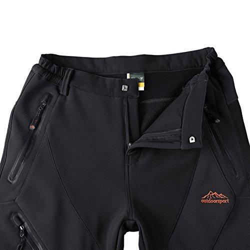 Da uomo ant-pilling pantaloni in pile antivento softshell, trekking, campeggio, pesca pantaloni Black