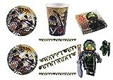 Casa dolce casa Lego Ninjago koordinierten Dekorationen Party–Kit N ° 32cdc- (16Teller, 16Becher, 20Servietten, 1Girlande Wimpelkette, 1Ball Supershape)