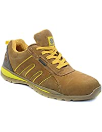 MENS SAFETY TRAINERS SHOES BOOTS WORK STEEL TOE CAP HIKER ANKLE HONEY YELLOW